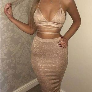 Gold glitter crop top wrap tie bandage skirt set